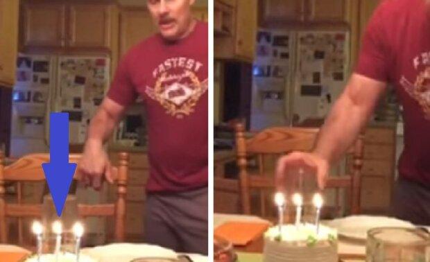 Vincent kom med ett nytt sätt att blåsa ut ljus på en födelsedagstårta